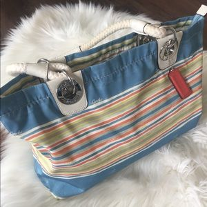Coach Purse Handbag in Stripe Pattern